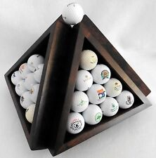 Pyramid GOLF BALL Display Rack Rotating Carousel UNIQUE Wood Stand Holds 40