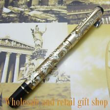 Jinhao White and Gold Embossed golden dragon Pen High Quality Fountain Pen