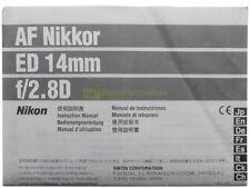 Manuale cartaceo originale x Nikon AF Nikkor ED 14mm. f2,8.