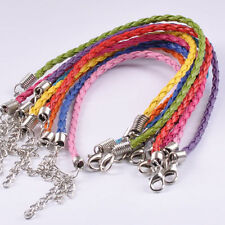 "Braided Leather Bracelet Set Mixed Colors 7.5"" Jewelry Lot of 10"