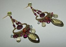 AMAZING,LONG,ANTIQUE, 18CT GOLD CHANDELIER EARRINGS WITH MULTI GEMS/CITRINE ETC.