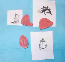 Ocean Sea rubber stamp lot sailboat Anchor Shark cling cushion Small stamps unm