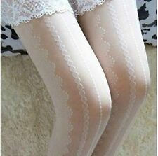 Women black white grey Retro lace embroidery Stockings Pantyhose Tights Opaque