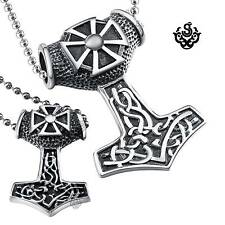 Silver bikies pendants set wolf stainless steel Thor's Hammer necklaces