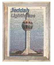 Jeddah Lighthouse Saudi Arabia Altered Art Print Upcycled Vintage Dictionary