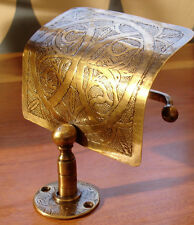 Moroccan tarnished brass hand engraved toilet paper roll holder