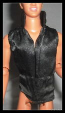 TOP MATTEL KEN DOLL BARBIE LOVES ELVIS  BLACK SATIN SLEEVELESS SHIRT CLOTHING