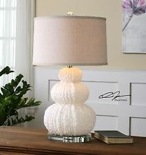 Stacked Sea Urchin White Table Lamp | Coastal Modern Shell