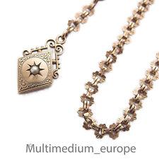 Jugendstil Uhrenkette mit Anhänger Saat Perle 8ct Rot gold 333 Raute red pendant