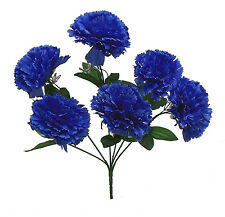 6 CARNATIONS ~ ROYAL BLUE ~ Silk Wedding Flowers Bouquets Centerpieces Bridal