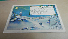 Greetings card Merry christmas and Happy new year snow scene B2