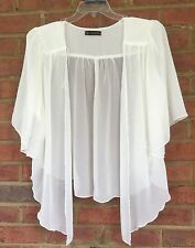 Womens IVORY WHITE Plus Size 3X Chiffon Cardigan Bolero Top WearOrGoBare