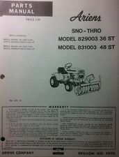 Ariens S-12 14 16 Lawn Garden Tractor Sno-Thro Parts Manual Snow Thrower 36 & 48