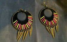 "Lovely Tribal Beaded Disc Earrings With Bullet Tassles Weaved Beaded 4"" Drop"