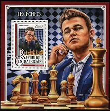 CENTRAL AFRICA  2016 CHESS CARUANA &  CARLSEN  SOUVENIR SHEET  MINT NH
