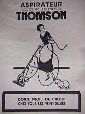PUBLICITÉ 1925 ASPIRATEUR DE POUSSIÈRE THOMSON - CHAT - ADVERTISING