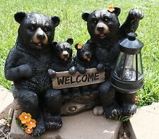 Black Bear Statue Bear Family Welcome Statue w Solar Light Welcome Sign New