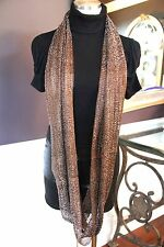 B126 Eternity Metallic Chocolate Brown & Silver Thread Long Infinity Scarf