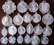 VINTAGE LOT 21 DIFFERENT OLD CATHOLIC RELIGIOUS METAL ALUMINUM HOLY MEDAL