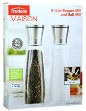 Trudeau Maison 9.5 Inch Professional Pepper and Salt Mill w/ Pepper Corns & Salt