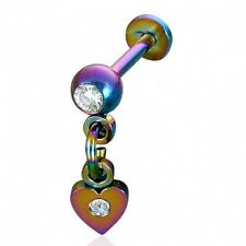 Surgical Steel Rainbow Anodized CZ Heart Chin Lip Labret  Free Shipping T    b12