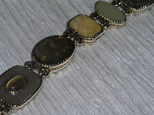 Estate Liz Claiborne Signed Shades of Green Enamel Light Goldtone Link Bracelet
