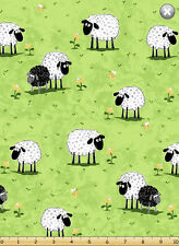 """Susybee's Lewe sheep on green grass 100% cotton 42"""" X 36"""" fabric by the yard"""