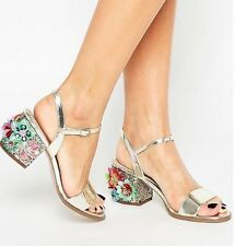 ASOS Harrogate Sandals Gold Embellished Bejewelled Flowers Glitter 3D 7
