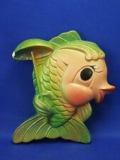 Vintage 1969 Chalkware Fish Wall Art Kitsch Miller Studio Inc Fish with Umbrella