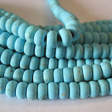 """Matte Turquoise Howlite 4.5x8mm Rondelle 2mm Large Hole Beads 8"""" Wrap Wire DIY"""