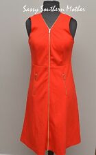 Calvin Klein Zip Front Sleeveless Sheath Dress Red sz 6, Small, $139.50