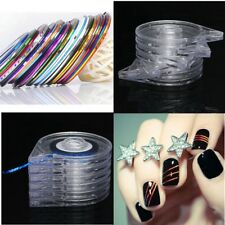 6PC DIY Easy Use Nail Art Roll Striping Tape Line Case Tool Sticker Box Holder E