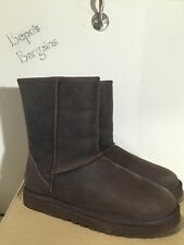 NIB WOMEN'S UGG AUSTRALIA CLASSIC SHORT LEATHER BROWNSTONE BOOTS SIZE 9 *NEW*