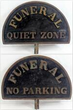 Vintage 2-Sided Bronze Funeral Quiet Zone Funeral No Parking Sign