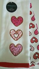 Cynthia Rowley DONUTS VALENTINE HEART New Kitchen Dish Towels Cotton Set of 2