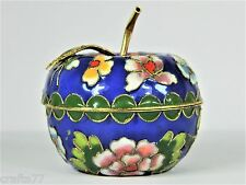 Blue Cloisonne Copper Enamel Trinket Jewelry Box,Apple Shape,Chinese Handicraft