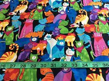 Timeless Treasures Multi-Color Cat Fabric  BTHalf yard green, blue, pink, rainbo