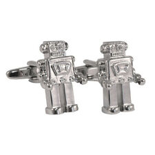 Silver Colour Cute Retro Robot Cufflinks in gift box AJ028 BNIB