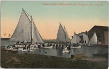 c1910 KINGSTON Ontario Canada Postcard CADETS Royal Military College SAILBOATS