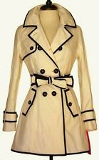 Betsey Johnson Coat NWT Sz Small Beige Black Trim Trench Belted Double Breasted