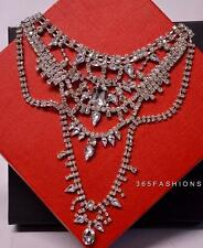 STATEMENT SPARKLE VINTAGE GLAM FAUX CRYSTAL BIB NECKLACE EARRING SET SILVER