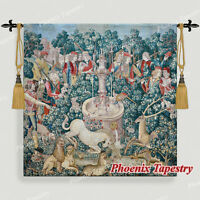 "LARGE Hunt of the Unicorn Medieval Art Tapestry Wall Hanging Cotton 100% 55""x54"""