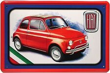 Fiat 500 (red) metal sign 300mm x 200mm (jk)