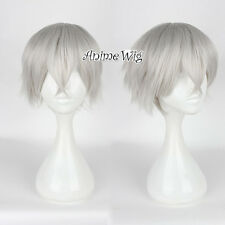 Tokyo Ghoul Jin Muyan Anime Short Silver Gray Straight Party Cosplay Hair Wig