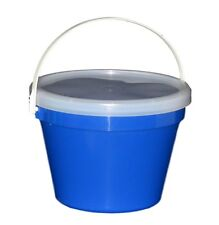 3 Blue One Gallon Buckets Lids Air Tight Container Mfg USA Food Safe Lead Free