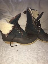 VTG LL Bean Signature Black Waxed Canvas Rubber Shearling Duck Boots Womens Sz 7