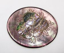 Vintage 1980's  Handcarved Abalone Shell Floral Cameo Loose Unset