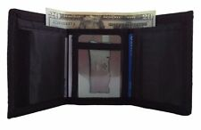 Men's Tri-fold Wallet Nylon Velcro Closure Canvas Black New In Package
