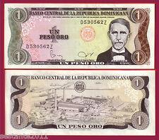 DOMINICAN REPUBLIC  - 1 PESO ORO SERIE 1982 raro scarce  - P 117c  QFDS / AUNC