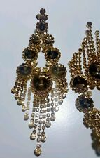 BRIDAL chandelier TOPAZ GOLDTONE rhinestone earrings DRAG QUEEN beauty pageant